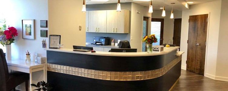 front reception desk at dental office